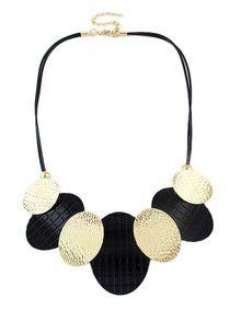 Black Round Chain Necklace -SheIn(Sheinside)