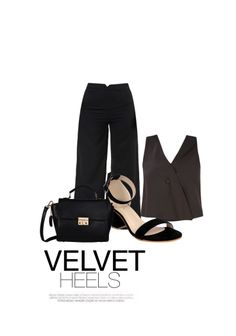 'velvet heels' by me on Limeroad featuring Black Sandals, High Rise Black Trousers with Solids Black Tops
