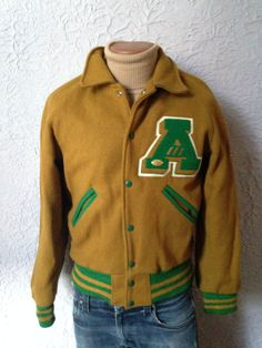 e85658c38c 40 s 50 s Vintage Men s Football Letterman Wool Jacket rockabilly medium  Men s Football