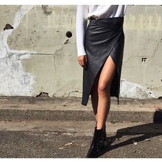 Repost by @sir_thelabel the beautiful leather wrap skirt ✔️ xx #ootd #leather #australianfashion #style #black #luxe #inspo