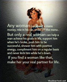 My values. If you can't treat your guy like this, you don't deserve to be his wife.