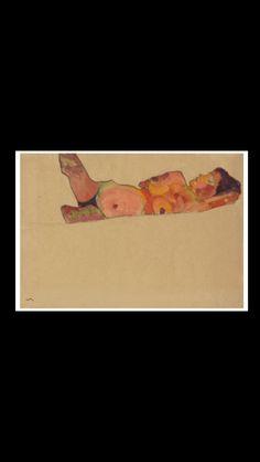 """Egon Schiele - """" Liegendes schlafendes Mädchen """", 1910 - Watercolor, gouache and black Conté crayon on paper - 31,4 x 44,8 cm"""