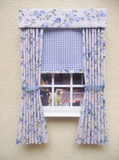 Miniature doll house gingham curtains drapes with pelmet and blind blue and cream floral