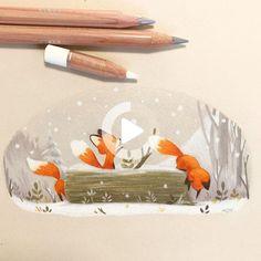 Little foxes on Behance #illustration Cute Animal Drawings, Cute Drawings, Art Fox, Fuchs Baby, Art Mignon, Fox Drawing, Fox Illustration, Dibujos Cute, Pics Art