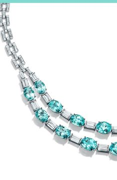 Appraise Diamond Jewelry Seventeen esteemed Paraiba blue tourmalines give this two-strand platinum and diamond necklace an electric shock of color. Blue Diamond Jewelry, Aquamarine Jewelry, Blue Tourmaline, Tourmaline Necklace, Tiffany Jewelry, Tiffany Blue, High Jewelry, Luxury Jewelry, Electric Shock