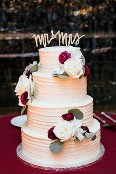 "Romantic wedding cake, white and red florals, gold ""Mr. & Mrs."" cake topper // Smash Studios Photography"