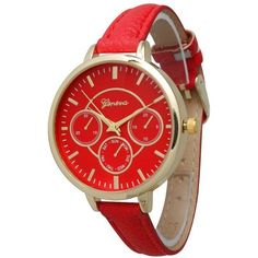 Olivia Pratt Skinny Chronograph Watch ($25) ❤ liked on Polyvore featuring jewelry, watches, red, red jewelry, leather bracelet, multi color bracelet, chrono watches and leather watches