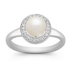pave diamond and freshwater pearl ring to  match my earrings.