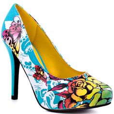 Ed hardy shoes Turquoise/yellow buterfly heels