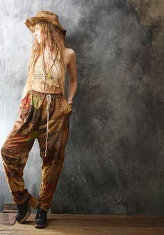 Vintage Dress Harem Pants Embroidered India by MajikHorse on Etsy