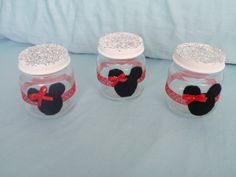 Minnie Mouse baby jars favors glitter candy baby shower birthday party etc 12 dozen pink, red.