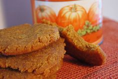 You can add pumpkin to pretty much any dish, as this list reveals. Pick one (or several) of these canned pumpkin recipes and go crazy! Vegan Pumpkin Cookies, Pumpkin Cookie Recipe, Pumpkin Spice, Cookie Recipes, Fall Cookies, Pumpkin Puree, Vegan Desserts, Vegan Recipes, Protein Recipes