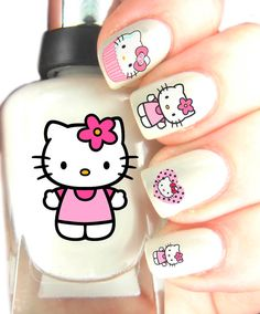 Hello Kitty Nail Art Decal stickers . Nail Art by SimplyGiftIdeas