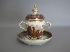 Rare Dresden Trembleuse Cup and Saucer, decorated by Helena Wolfsohn from frillfactor on Ruby Lane