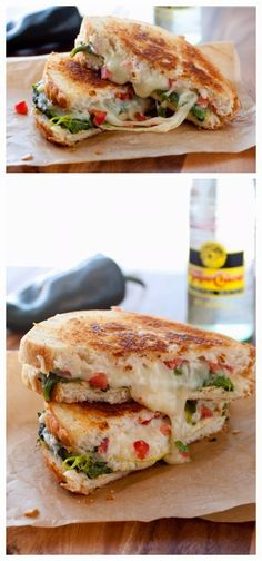 Chile Relleno Grilled Cheese Sandwich - (Free Recipe below) - Dessert Food Recipes - Chile Relleno, Cheesy Recipes, Mexican Food Recipes, Burger Recipes, Vegetarian Recipes, Grilled Cheese Recipes, Grilled Cheeses, Food Porn, Tapas