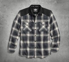 Give solids a day off and work this plaid shirt into the rotation.   Harley-Davidson Men's Contrast Yoke Plaid Shirt