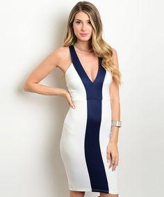 Comprar #PorEncargo: Vestido blanco franja azul. Pórpora: tienda virtual de ropa y accesorios para mujer, envío gratis a todo Costa Rica.