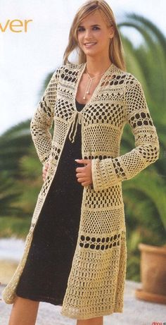Fabulous Crochet a Little Black Crochet Dress Ideas. Georgeous Crochet a Little Black Crochet Dress Ideas. Crochet Jacket, Crochet Poncho, Crochet Cardigan, Irish Crochet, Long Cardigan, Crochet Sweaters, Patron Crochet, Summer Cardigan, Moda Crochet