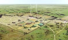 This reconstruction of a Roman settlement in Tiel Passewaaij gives a good idea how the landscape in Buren was appointed showing some farms with adjacent fields in the fertile lands around the lower pasture by Mikko H. Kriek