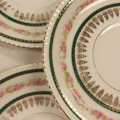 Set of 5 Plates, H&Co. Heinrich Bavaria, Selb Germany, Bavarian Replacement Porcelain China, Double Handle Soup Underplate/Liner, Bread/Side by FeeneyFinds on Etsy