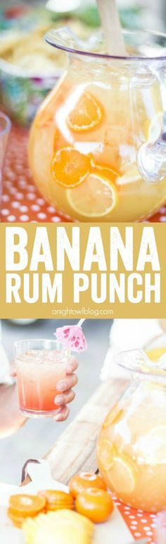 Banana Rum Punch - A delicious combination of fruity flavors that make for one delicious cocktail, perfect for entertaining! Banana Rum Punch - A delicious combination of fruity flavors that make for one delicious cocktail, perfect for entertaining! Non Alcoholic Drinks, Cocktail Drinks, Cocktail Recipes, Bourbon Drinks, Margarita Recipes, Alcohol Drink Recipes, Punch Recipes, Alcohol Shots, Summer Drinks