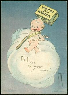 Postcard image featuring a Kewpie promoting the Women's Suffrage movement, manufactured by Campbell Art Company, United States, by Rose O'Neill. Vintage Ephemera, Vintage Cards, Vintage Postcards, Kawaii, Women In History, Art History, Vintage Children, Vintage Advertisements, Vintage Prints