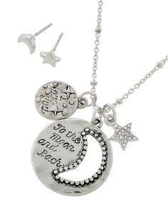 Antique Silver Tone / Clear Rhinestone / Lead&nickel Compliant / Metal / Post (earrings) / Message / Star & Moon / Pendant / Necklace & Earring Set