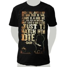 Johnny Cash Shot A Man In Reno design printed on a black t-shirt.
