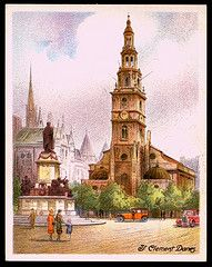 "'Oranges and Lemons!' say the Bells of St. Clements  - Cigarette Card - ""St Clement Danes""  Player's cigarettes ""Picturesque London"" (series of 25 large cards, 1931) #11 St Clement Danes"