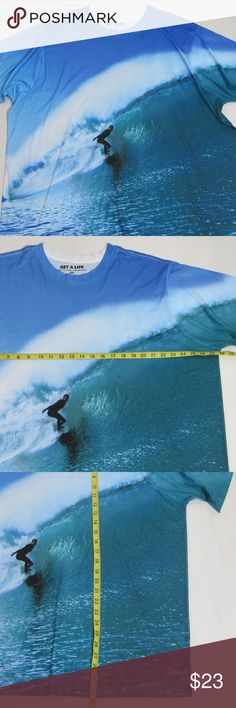 GET A LIFE T Shirt 3XL Mens Rash Guard Surf Wave GET A LIFE Men's T-Shirt  Size: 3XL  Very good condition  A6415zkE GET A LIFE Shirts Tees - Short Sleeve