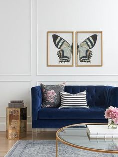 Estimated Shipping is 2-3 weeks. Add drama to any room with these beautiful statement pieces. Vintage butterfly prints and high quality gold frame. Made in the USA Set of two framed art prints. Color