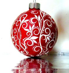 Red and White Hand Painted Glass Ornament