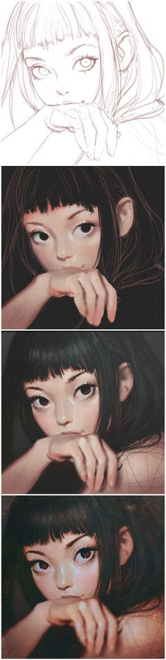 I love this image a lot. You can see step by step how the artist creates a real life feel to their images. You can see how they continuously add different values of the colour to make certain features pop out and look real. Digital Painting Tutorials, Digital Art Tutorial, Art Tutorials, Painting Process, Process Art, Paint Photoshop, Kuvshinov Ilya, Poses References, Art Studies