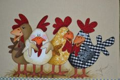 Quilt Block Patterns, Applique Patterns, Applique Quilts, Applique Designs, Embroidery Applique, Chicken Crafts, Chicken Art, Quilting Projects, Sewing Projects