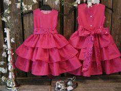 Hot pink flower girl dress, girls ruffle dress. Colorful wedding. Toddler girl special occasion dress. Girls birthday dress. Christmas dress...