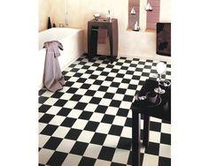 Details zu PVC Bodenbelag schwarz-weiß Schachbrett 400 cm Breite pro ...