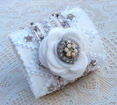 Bridal Wrist Cuff  Pristine White Felt and Hand ❤ by lesjardinsdevie, $155.00