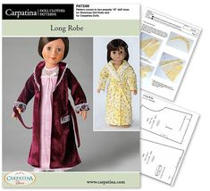 Long Robe Doll Clothes Pattern as PDF File Comes in 2 by CARPATINA