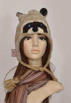 Grey racoon animal hat   warm hat  knit hat by MandalaStoreToronto
