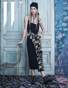 Sasha Pivovarova wears cropped pants, crystal embroidered dresses and lace Pose on W Korea Magazine December 2015 Photoshoot