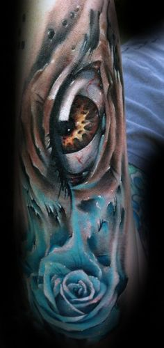 3d Eye With Realistic Blue Rose Watercolor Mens Outer Forearm Tattoos