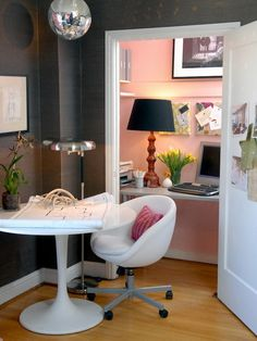 small home offices. Love the disco ball