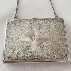 Antique Art Deco Sterling Silver Engraved Repousse Change Purse w Chain #Unknown