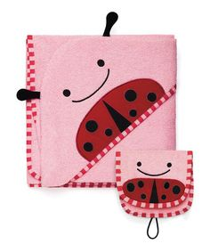 Loving this Ladybug Hooded Towel & Bath Mitt on #zulily! #zulilyfinds