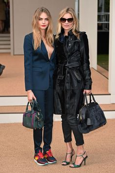Cara Delevingne and Kate Moss at Burberry Spring 2015- Cara Delevingne and Kate Moss Wear Burberry