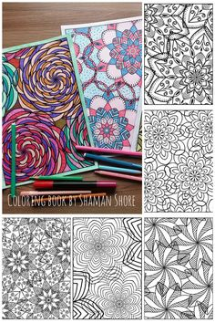 Mandala coloring designs and colored sapmles, printable coloring book pages for adults, pdf digital download, adult coloring printable sheets, advanced difficult complicated coloring level, mandala laces detailed coloring patterns, for grown ups.