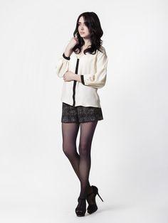 Estella Blouse in Cream Silk + Sam Short inBlack Boucle Wool by LEONA