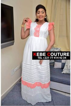 African Attire, African Wear, African Dress, African Print Fashion, African Fashion Dresses, Fashion Prints, White Dress With Sleeves, Dresses With Sleeves, Lace Sleeves