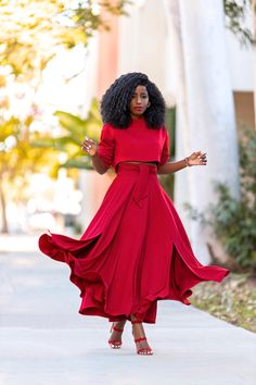 StylePantry – Page 6 – Daily outfits from Folake Kuye Huntoon Long Skirt Fashion, Long Skirt Outfits, Stylish Outfits, Fashion Dresses, Red Midi Dress, Midi Skirt, Classy Street Style, Conservative Outfits, Yeezy Fashion