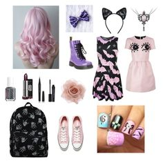 """""""More Pastel Goth"""" by magglynn ❤ liked on Polyvore featuring Dr. Martens, Maison Close, Killstar, Essie, Marc Jacobs, Smashbox, Accessorize, Converse and RED Valentino"""